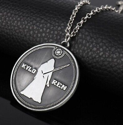 """Star Wars Round 40.2mm DIA Pendant Silver Tone 20"""" Link Chain Necklace Kylo Ren"""