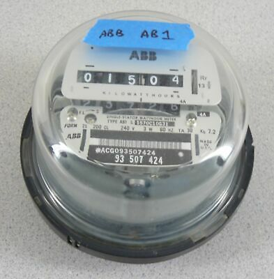 Abb Electric Watthour Meter Kwh Type Ab1 30ta 200a 240v Cl200 4 Lug Glass Dome