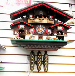 LOTSCHER  8DAY SWISS CUCKOO CLOCK-HEIDI'S FARM HOUSE MADE IN SWITZERLAND 20178M