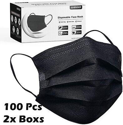 50 100 Pcs Black Face Mask Mouth Nose Protector Respirator Masks Usa Seller