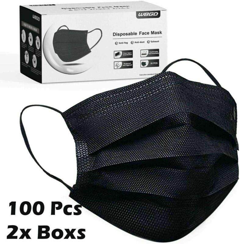 100 / 200 PCS Black Face Mask Mouth & Nose Protector Respirator Masks USA Seller
