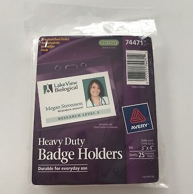 Avery Top Loading Horizontal Vinyl Badge Holder 3 X 4 25 Count