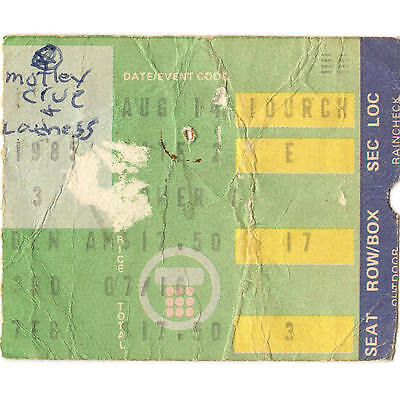 MOTLEY CRUE & LOUDNESS Concert Ticket Stub NYC 8/14/85 MSG THEATRE OF PAIN TOUR