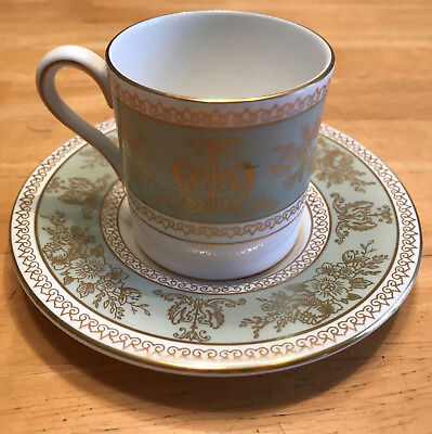 Wedgwood COLUMBIA SAGE GREEN AND GOLD (501019) demitasse cup saucer Bond - MINT