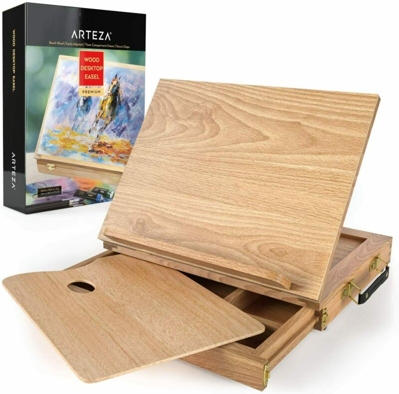 ARTEZA Wooden Desktop Easel with Drawer & Palette