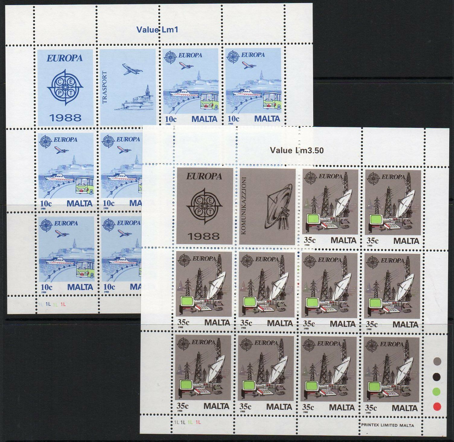 MALTA SG827/8 1988 EUROPA TRANSPORT & COMMUNICATIONS SHEETLETS MNH