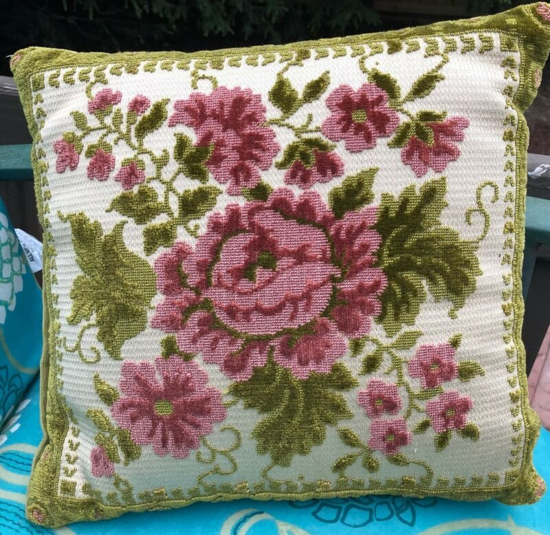 Vintage Chenille Cut Velvet throw pillow Green PInk Floral small