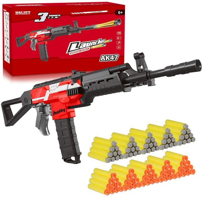 FULLY AUTOMATIC Nerf Gun Compatible AK47 Foam Dart Guns Boy