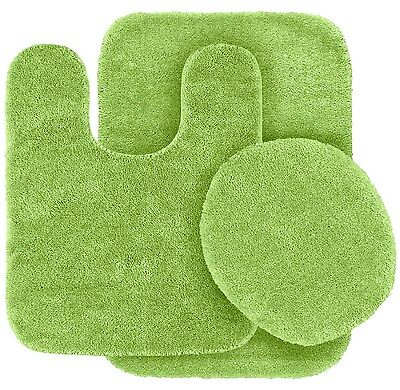 SOLID BATH RUG CONTOUR MAT TOILET LID COVER BATHROOM SET 3PC LIME GREEN #6