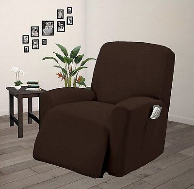 - Pique Stretch Form Fit Furniture Chair Recliner Lazy Boy Cover Slipcover - Brown