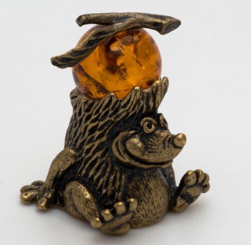 Solid Brass Amber Figurine of Hedgehog with Apple Totem talisman IronWork