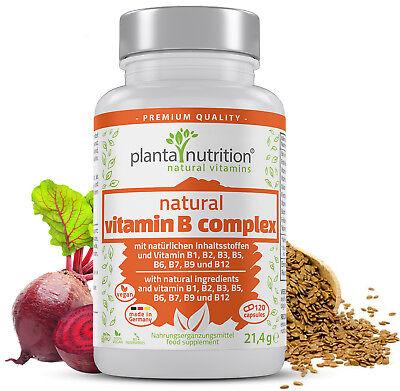Vitamin B Komplex natürlich, 120 Kapseln mit Vitamin B12 + Bio-Leinsamenmehl ()