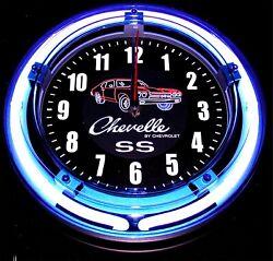 CHEVELLE SS LOGO - 11 Blue Neon Wall Clock