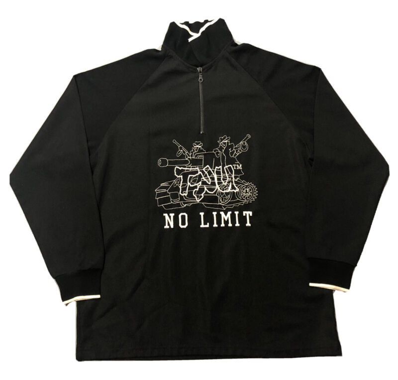 RARE VTG 90s TRU No Limit Soldiers Master P Black 1/4 Zip Long Sleeve Pullover