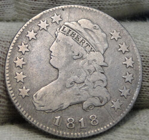 1818 Capped Bust Quarter 25 Cents -  Key Date, Nice Coin, Free Shipping. (8299)