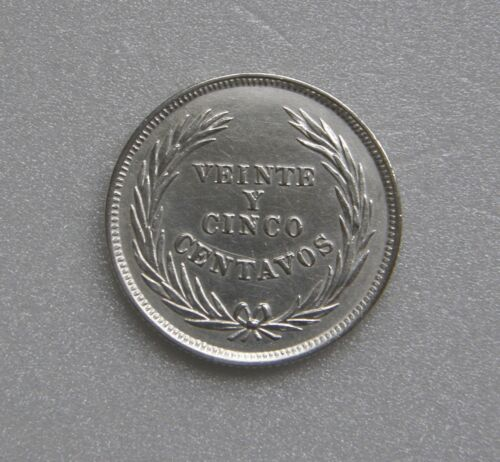 El Salvador Coin 25 Centavos Silver .835 1914 25mm