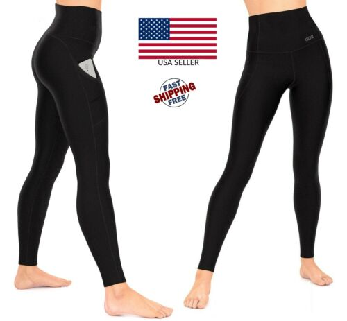 Compression Leggings Black Tummy Control High Waist Pocket Anti-Cellulite USA