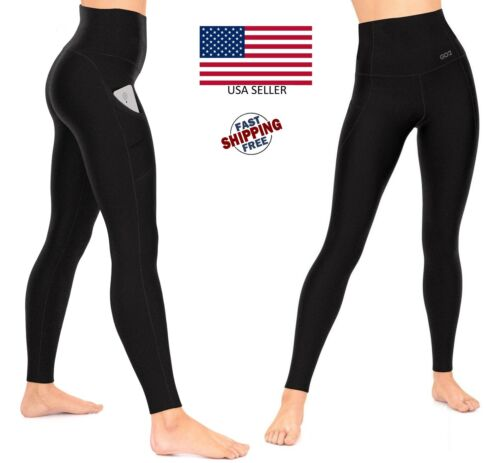 Womens Compression Leggings Black Tummy Control High Waist Pocket Anti-Cellulite