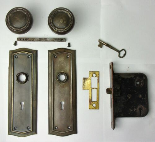 Antique Entrance Door Set Victorian / Art Deco Backplate Knob Mortise Lock Key