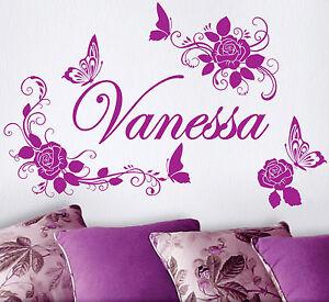ROSES-Flowers-Name-Butterflies-Vinyl-Wall-Decals-Sticker-Art-Decor-Mural