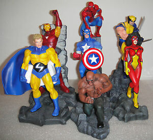 Marvel-NEW-AVENGERS-CAPTAIN-AMERICA-WOLVERINE-SPIDER-MAN-IRON-MAN-SET-7-STATUE