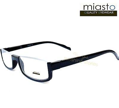 MIASTO TOP RIMLESS RECTANGLE HALF READER READING GLASSES+1.50 BLACK LARGE~ (Large Rectangle Glasses)
