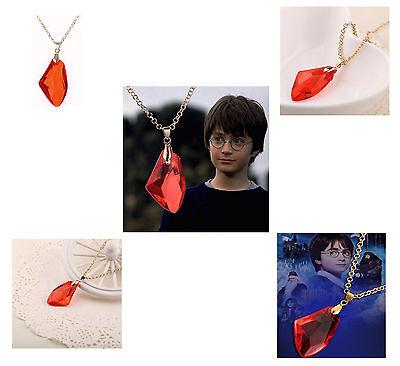 Stein der Weisen Rubin Rot 3,9 cmx2,4 cm mit Kette 50cm Harry Potter Replikat