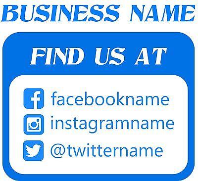 Social Media Custom Business Sign Vinyl Decal Sticker 15 - 15