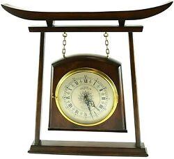Vintage P. F. Bollenbach Teak Brass Wall Clock Mid Century Torii Gate Asian