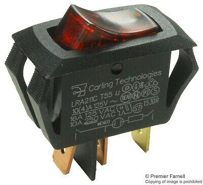 Carling Technologies Switch Rocker Spst 16a 250v Red Lra211-cr-b125n