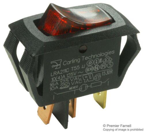 Carling Technologies Switch, Rocker SPST, 16A, 250V, RED LRA211-CR-B/125N