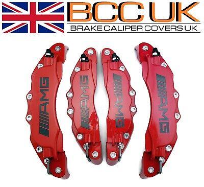 BIG RED Aluminium Brake Caliper Covers DIY Kit AMG Logo Front Rear 4pcs L+M