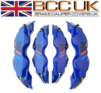 NEW BIG BLUE Brake Caliper Covers Kit Black ///M Logo Front Rear 4x L+M fits BMW