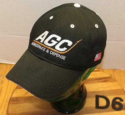 Agc Aerospace   Defense Hat Black Strapback Embroidered Very Good Condition D6