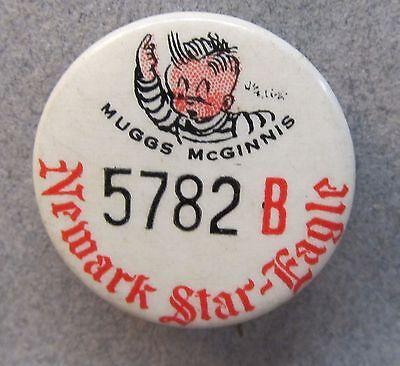 30's MUGGS McGINNIS Newark Star-Ledger comic strip pinback button w/ back paper