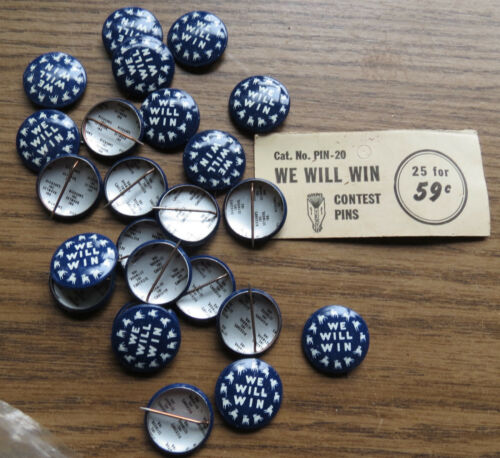 24 DEMOCRATIC WE WILL WIN DONKEY BUTTONS - Vintage Political Democrat