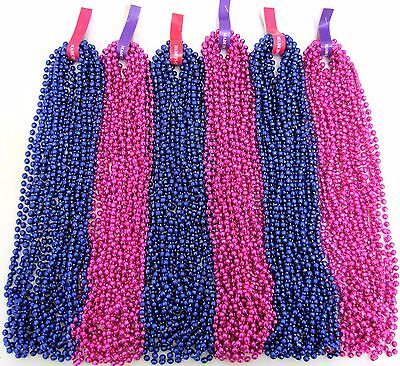 Mardi Gras Beads Hot Pink & Blue Gender Reveal Baby Shower 6 Dozen 72 Necklaces