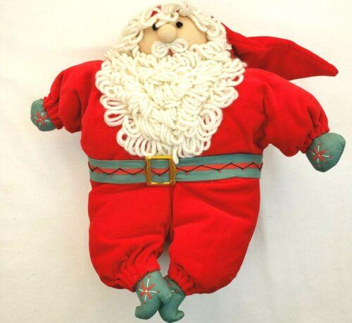 Vintage Santa Claus Plush Christmas Stuffed Doll Xmas Holiday Red Green Yarn