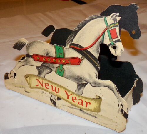 Super RARE vintage MERRY NEW YEAR paper horse Christmas Holiday display