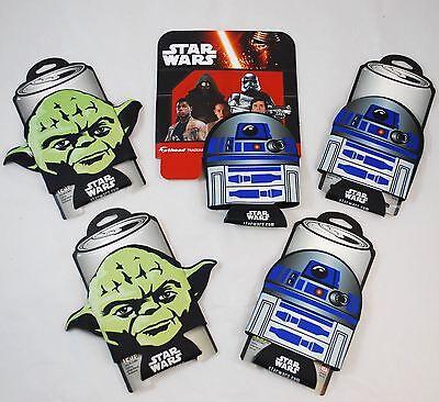 *5* STAR WARS Soda/Beer Can Cooler Koozie Coozie Insulator - R2D2 & YODA Set - Soda Yoda