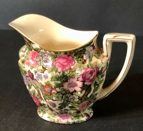 Antique CROWN DUCAL WARE ENGLAND IVORY CHINTZ BIRDS FLOWERS Creamer