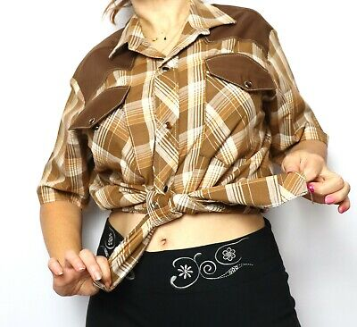 1970s Men's Shirt Styles – Vintage 70s Shirts for Guys Brown Plaid Cowboy Mens Shirt 60s 70s Vintage gold thread Pearl snaps Gee Zeds S $43.52 AT vintagedancer.com