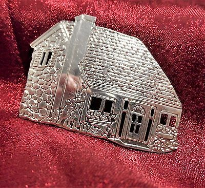 Cobblestone Country Cottage House Cabin Brooch Pin Sterling Silver 925 Vintage