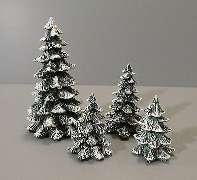 Set of 4 Dept. 56 Miniature Resin Snow Covered Pine Trees - Village Accessories
