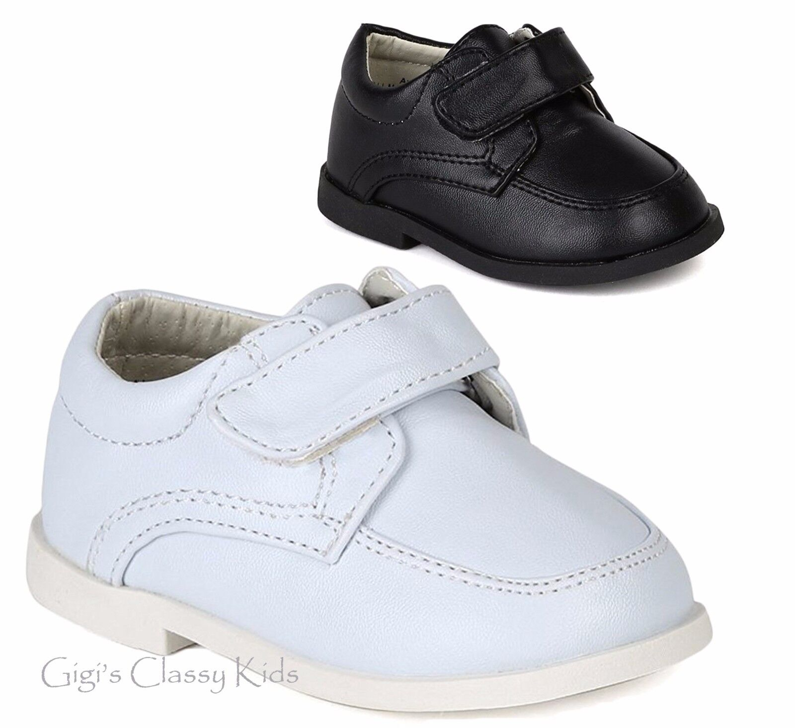New Baby Toddler Boys White Black Dress Shoes Christening Baptism