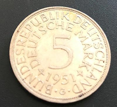 5 DM 1951 G, Silberadler, Heiermann Jg. 389, 625er Silber