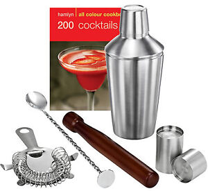 Stainless Steel Manhattan Cocktail Shaker Bar Set Kit - Shot Measures, Strainer
