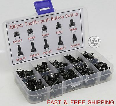 Tactile Micro Momentary Push Button Switch 10 Value Tact Assortment 200pcs
