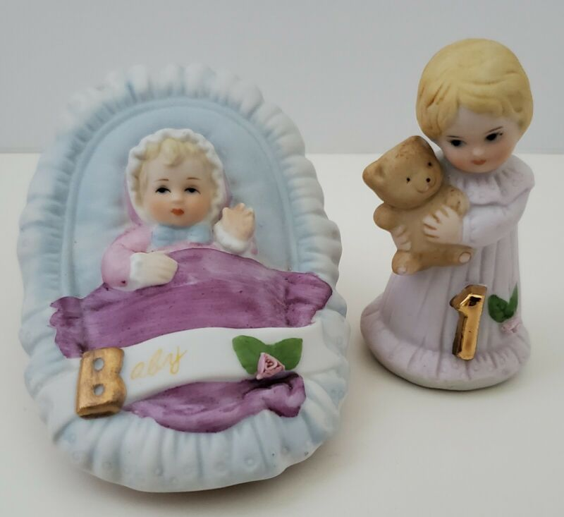 Vtg Lot Enesco Baby Growing Up Birthday Girl Age 1 Blonde Porcelain Figurine