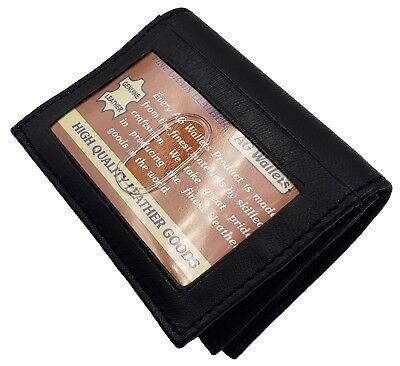 Genuine Leather Business N Credit Card Holder, Gusset Pocket, Outside ID, Black